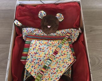 Baby shower gift box , including a teddy bear comforter , 2x fleece lined dribble bibs and a dummy clip