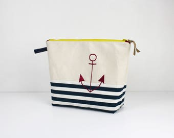 """""""Seaside"""" toiletry bag in natural cotton and canvas blue ivory striped cotton canvas"""