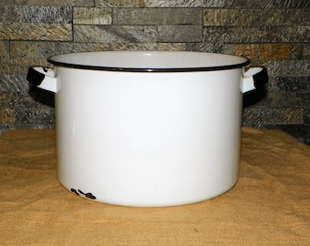 """Black and White Enamel Ware Stock Pot 7 1/4"""" High by 11 5/8"""" Wide, Porcelain and Metal Cooking Soup Pot"""