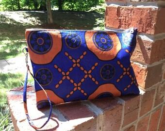 Blue Orange Ankara Clutch Bag Purse Wristlet