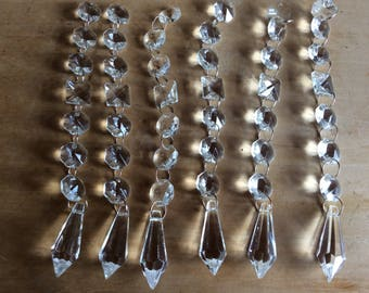 Vintage crystal tear drop chandelier prism pendant craft project or replacement