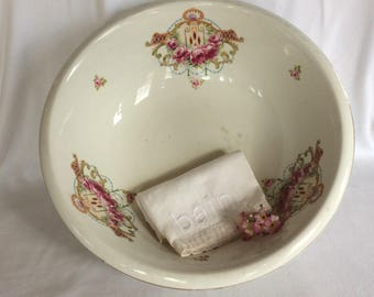 Antique G Winton Grimwades ironstone wash bowl 1910 stoneware basin floral pattern