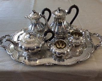 Stunning Rogers 1881 SP-BM 7379 hand chased silver tea set beautiful melon pattern