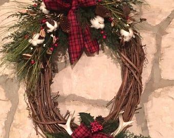 Rustic antler Christmas Wreath