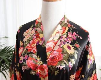 Black Bridal satin robe