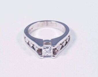 Platinum Princess Cut Diamond Engagement Ring w/ 1.75ct. tw., size 6.75