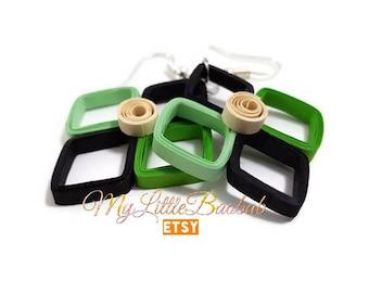 Quilling green ivory black diamond earrings