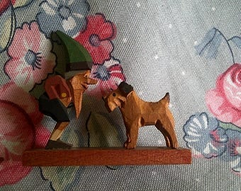 Vintage Carved Wood Gnome And Dog Miniature Swiss Made