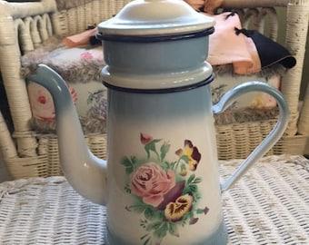 Vintage French Art Deco Enamelware Red Enamel Coffee Pot tea Flowers