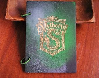 Slytherin Harry Potter wooden sketchbook hogwarts hand painted