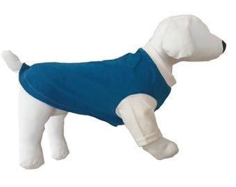 Teal and white two-toned dog shirt