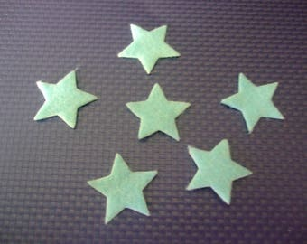 x 20 self-adhesive stars felt 20 mm turquoise scrapbooking, sewing, decoration...