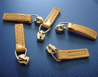 slider (mesh 6 mm) silver faux leather zipper pull