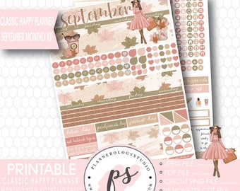 Hello Fall September 2017 Monthly View Kit Printable Planner Stickers (for use with Mambi Classic Happy Planner) | JPG/PDF/Cut File
