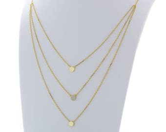 Stratis Tiered Gold Toned Sterling Silver Necklace