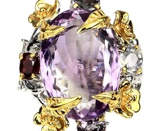 A MAGNIFICENT Amethyst Spinel Garnet Ring Size 8.5 14kt Gold over .925 Sterling Silver