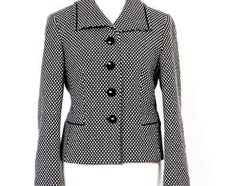 Gerry Weber 90s Wool Mixed Blazer, Black and White Wool Mixed Blazer, Designer Blazer, Blazer EU Size 40, UK 14, US 10