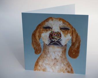 Greeting card dog blue
