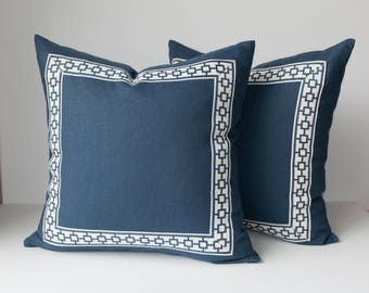 Navy Throw Pillow Cover - Linen Pillow Cover -Navy Pillow Cover- Pillows with Trim -Greek Key Pillow -Geometric Trim -Dark Blue Pillow Cover