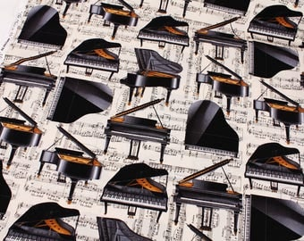 The Music in Me Grand Piano Musical Note patterned Fabric by Maria Kalinawski for Kanvas Benartex by the Half Yard