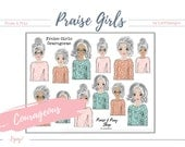 "Praise Girls ""Courageous"" Grey (with faces). Perfect for journaling bibles or faith journals! Digital, printable stickers."