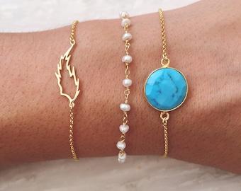 Rosary Bracelet, Beaded Bracelet, Turquoise Bracelet, Turquoise Stone Bracelet, Leaf Bracelet, Gift for Her, Made in Greece.