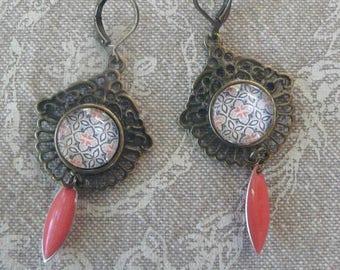 """Mosaic"" lace earrings"