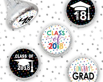 Multicolored Class of 2018 Graduation Stickers - Senior Class of '18 Grad Envelope Seals - Hershey Kisses Grad Party Favors - Set of 324