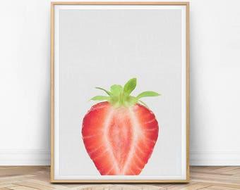 Strawberry Print,  Fruit Print, Food Wall Art, Kitchen Wall Decor, Kitchen Print, Food Print, Fruit Decor, Red, Green, Modern Wall Art, F01