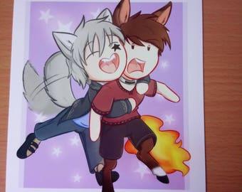 Surprise hugs! A5 print comic book original characters digital artwork cute
