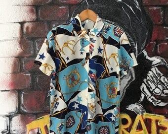 Vintage Classic Retro Marine Club Allover Print Shirt