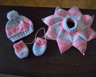 ensemble bonnet,écharpe ,moufles,bébé 12 /18 mois
