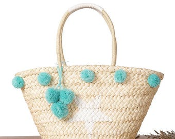 Straw bag Pom Pom Fashion Bag for Summer Beach Tote Bag Handmade basket