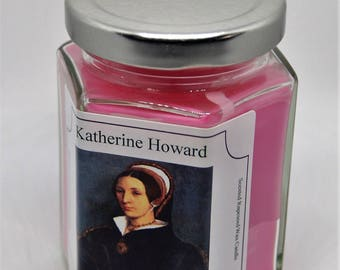 Katherine Howard rapeseed scented candle in a jar eco wax history candle Rose Tudor Queen Six Wives of Henry VIII