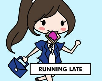 RUNNING LATE Stickers / planner stickers, school, work stickers, late for school, late for work, panic sticker / SDW34
