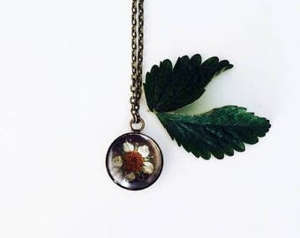 Wild Strawberry Botanical Necklace-necklace with real strawberries
