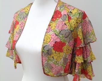 1930s jacket floral chiffon vintage antique