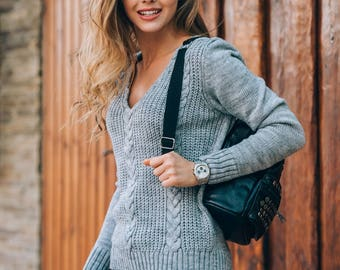 Grey womens knitted sweater long sleeve Spring sweater openwork contrast Wool sweater Oversized sweater Autumn Sweater Woman sweater evening