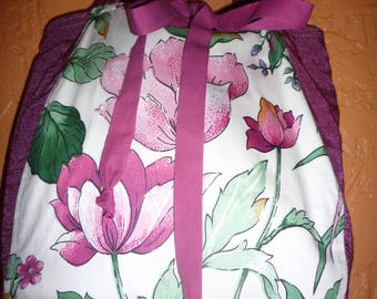 large pink flowers and fuchsia print cotton tote bag