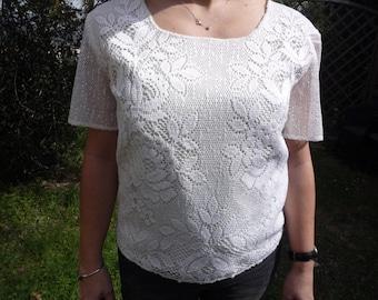 Ecru cotton lace t-shirt