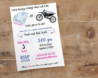 Diamonds or Dirt Bikes Invite // Custom Gender Reveal Party Invitation // 4x6 or 5x7 // High Resolution Digital Download JPEG & PDF