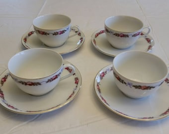 4 antique bone china teacups & saucer sets made in czechoslovakia w/ red roses and blue ribbon trim 1940 's  - vintage porcelain kitchen art