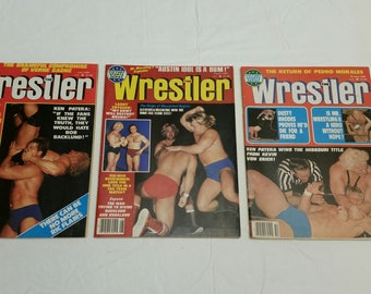 3 vintage pro wrestling magazines - the wrestler 1980 june august oct - wwe wwf awa ecw nwa sports rhodes zbyszco bockwinkel backlund idol A
