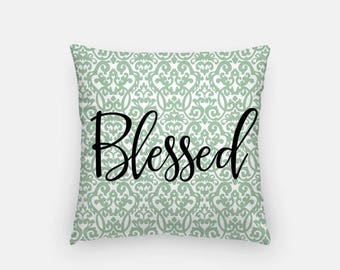 "FRIYAYsale Blessed Throw Pillow Cover 18"" - Pillow Cover + Pillow Insert, Fall Decor,Home Decor, Blessed, Inspiring Quote Pillow, Autumn Thr"