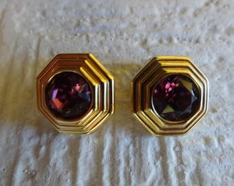 Vintage Christian Dior purple Earrings/Christian Dior purple and gold earrings/Christian Dior Sparkle clip on earrings/Aretes