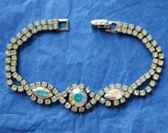 Vintage Silver Tone Aurora Borealis and Clear Rhinestone Bracelet