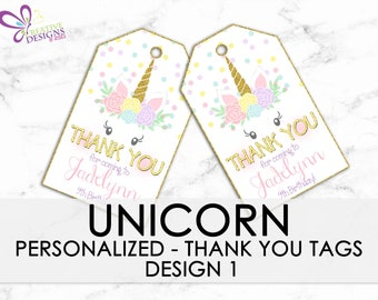Unicorn Favor tags, Unicorn Birthday Thank you tags, Gift tags, Unicorn Party - PERSONALIZED