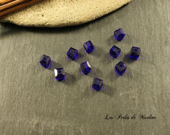Set of 2 glass beads square - Royal Blue - 6mm - ref:l90