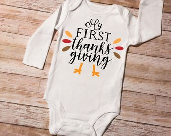 First Thanksgiving onesie, first thanksgiving turkey, girl thanksgiving, boy thanksgiving, first