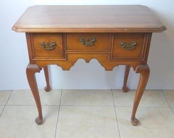 L & JG Stickley Queen Anne Style Oak Writing Desk Signed